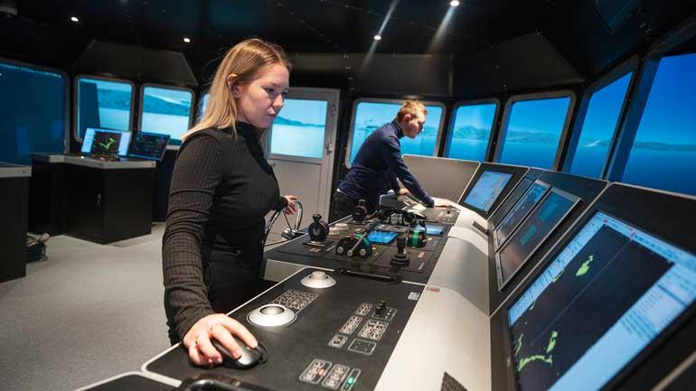 Skipssimulator ved Institutt for teknologi og sikkerhet, UiT. Foto: David Jensen / UiT